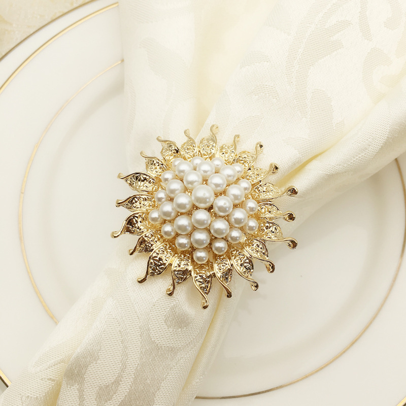 12PCS alloy pearl sunflower napkin ring wedding hotel accessories
