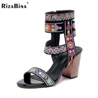 RizaBina Sexy Women Gladiator Real Genuine Leather High Heel Sandals Women Zipper Thick Heel Sandals Summer