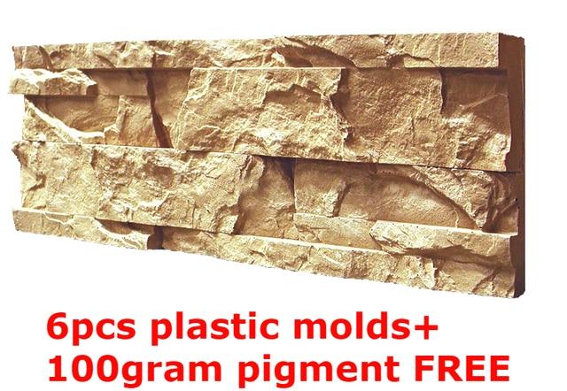 Plastic Molds for Concrete Plaster Wall Stone Tiles 6pcs CONCRETE ...