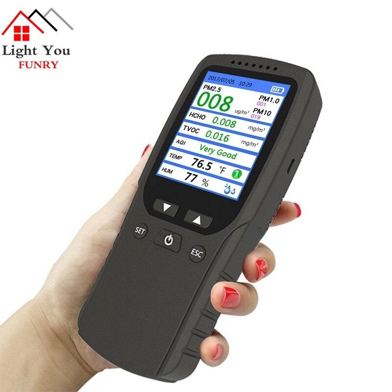 2018 8 em 1 PM1.0 PM2.5 PM10 Formaldehyd HCHO TVOC Detector de Temperatura Medidor de Umidade Do Monitor Monitor de Analisador De Gás da Qualidade do Ar
