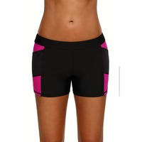 Women Summer Beach Board Shorts Sports Slit Swim Mid Waist Bikini Bottoms Quick Dry Solid Stretch Active Swimsuit Plus Size Pant