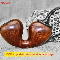High Class Calabash Shape Design Briar Wood Smoking Pipe Huge Air Chamber Novelty Tobacco Pipe Men Gift aa0030