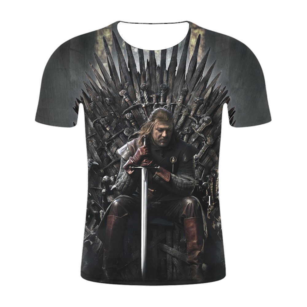 2019 новые футболки футболка с 3D принтом «Игра престолов» Мужская футболка «Ночной король и дракон» летние футболки с короткими рукавами в стиле хип-хоп