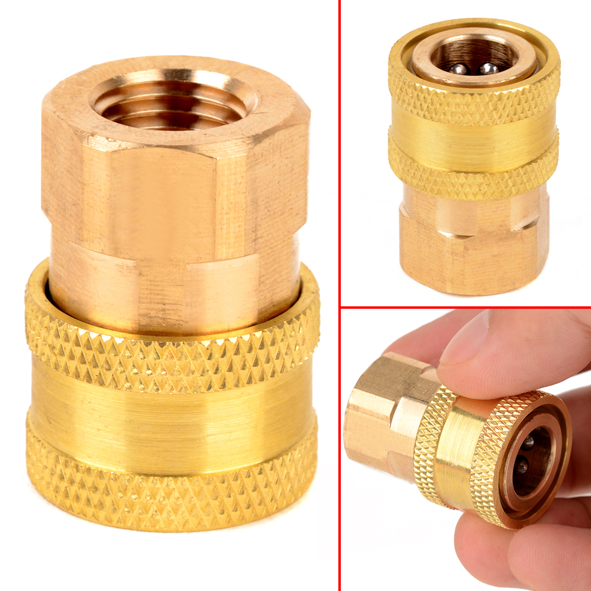 1pc 1/4 NPT Brass Female Quick Connect Coupler for Pressure Washer 15mm Inner Diameter Mayitr Durable Pipe Thread Adapter 50pcs brass pipe fitting hex nipple joint 1 81 4x1 81 43 8x1 83 8x1 4 npt male thread plumb water gas connector accessory