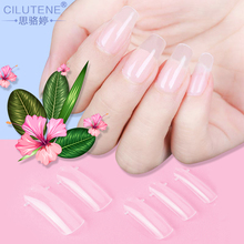 100pcs Jelly Poly Gel False Nail Tips Model Form for Full Cover UV GEL Acrylic Nail Art Mold Fake Nails Extension Transparent