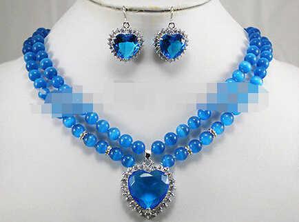 משלוח חינם 0187 סט תכשיטי אופנה הכחול אופל לב קריסטל שרשרת עגיל