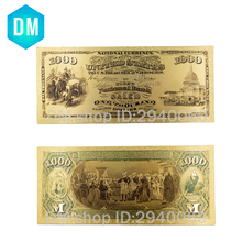 Collectible American Currency Bill Note 24k Gold Plated Fake Money Unique 1875 Year Colorful Gold Banknote 10 Pcs