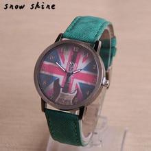 Snowshine #3001 Retro Gitarre Britische Flagge Muster Frauen Leder Uhr Quarz Armbanduhr freies verschiffen