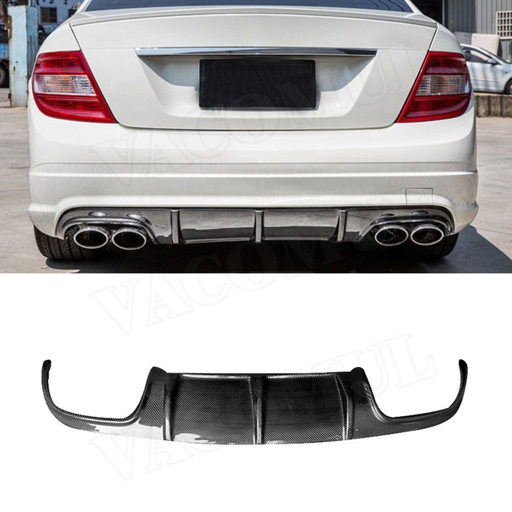 For <font><b>W204</b></font> Carbon Fiber Rear Bumper Lip Diffuser <font><b>Spoiler</b></font> for <font><b>Mercedes</b></font> <font><b>Benz</b></font> <font><b>C</b></font> <font><b>Class</b></font> C63 AMG 2008 - 2011 Car Styling image