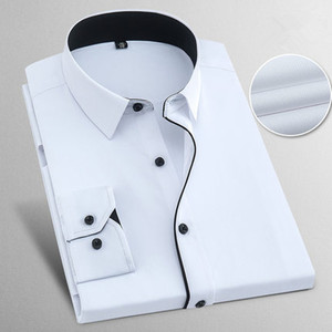 Image 2 - Spring Autumn Plus Size 8XL Solid Mens Work Shirts Long sleeve Casual Slim Fit Cotton Male White Striped Social Dress Shirts Man