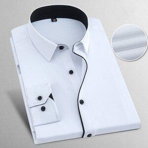 Image 2 - İlkbahar sonbahar artı boyutu 8XL katı erkek iş gömlek uzun kollu Casual Slim Fit pamuk erkek beyaz çizgili sosyal elbise gömlek adam