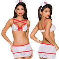 Hot women nuisette sexy lingerie cosplay nurse lace perspective bra+hat+mini skirt lenceria sexy costumes erotic underwear