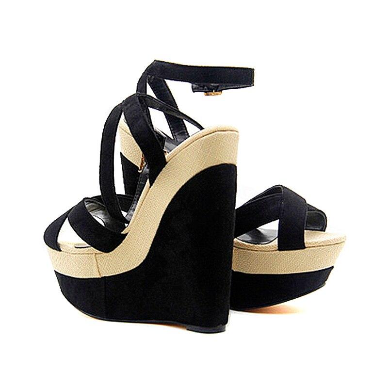 34 Cómodas Doratasia Fiesta Correa Zapatos Cuñas Nueva De Verano Negro Mujer Sandalias Plataforma Tobillo Tacones Altos 43 Grande Tamaño STSPq