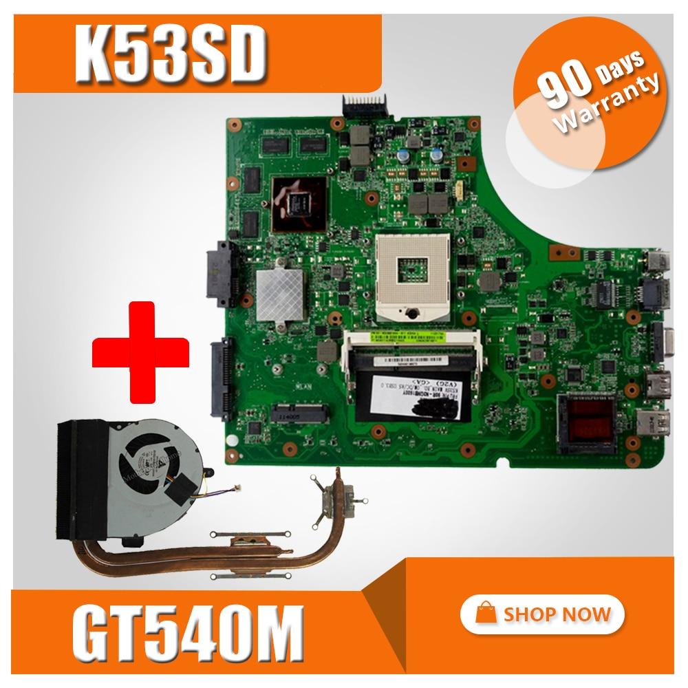 Send Heatsink For ASUS K53SD K53S A53S Laptop motherboard Mainboard K53SD Motherboard test 100 OK Motherboard