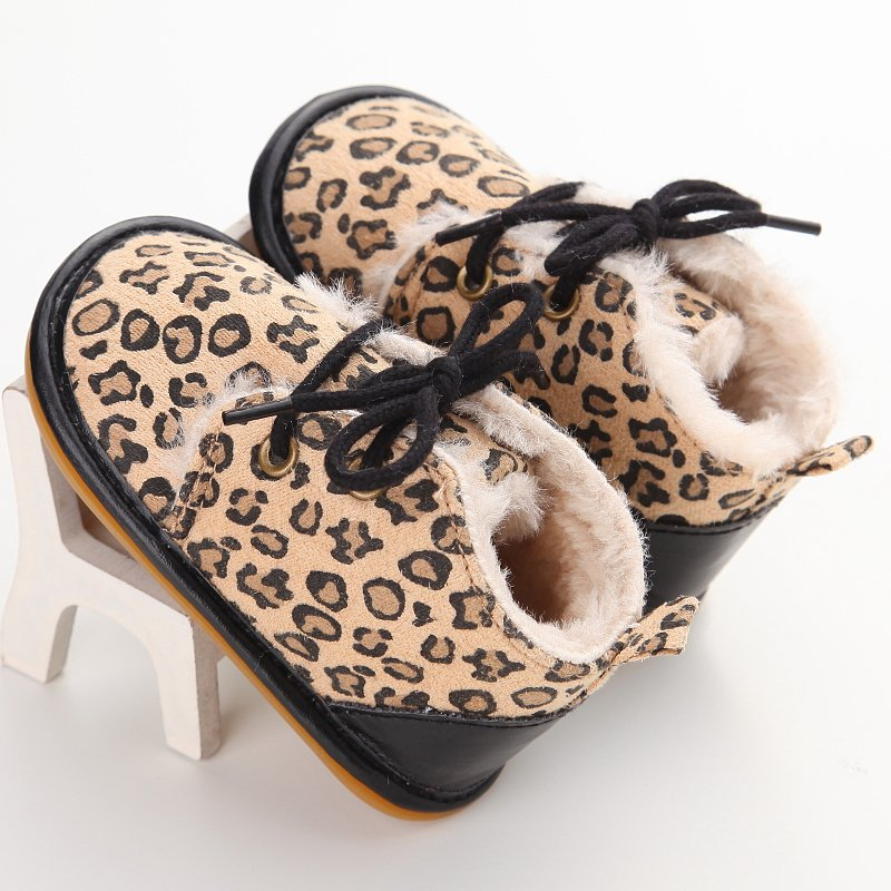 Toddler Winter Warm Leopard Baby Kids High Shoes Casual Anti-Slip Walk Sneaker First Walkers