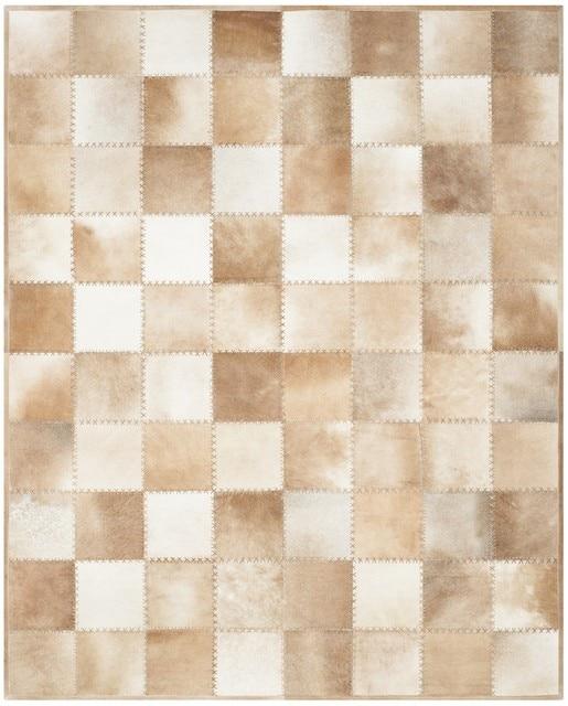 Peau De Daim/marron Clair Patchwork Peau De Vache Naturelle Tapis Modèle  No. Tapis
