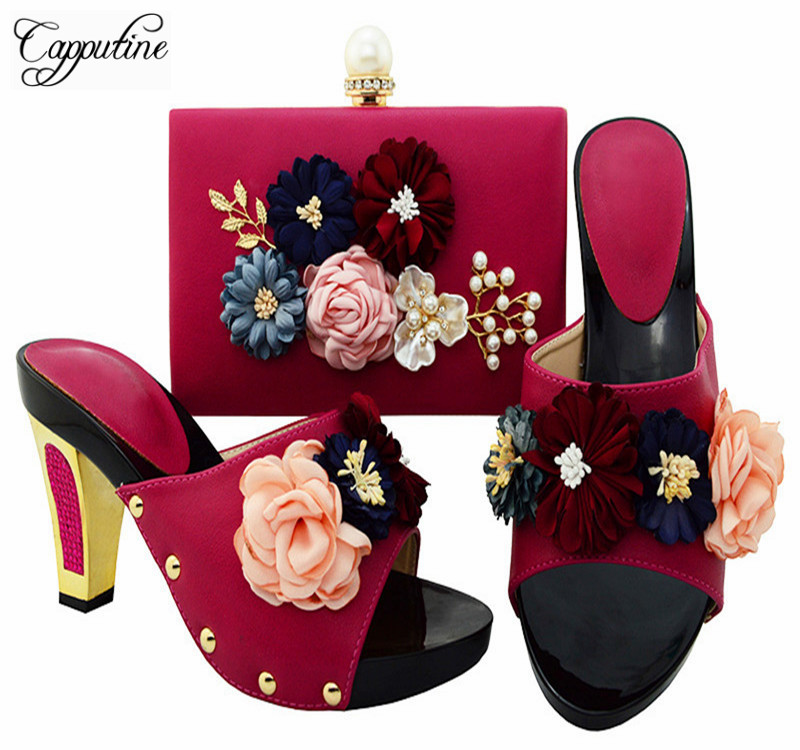 Capputine High Quality Woman Pretty Flwoers Shoes And Bag Set Italian High Heels Shoes And Bag Sets For Wedding Dress BL0013 ободки pretty mania ободок