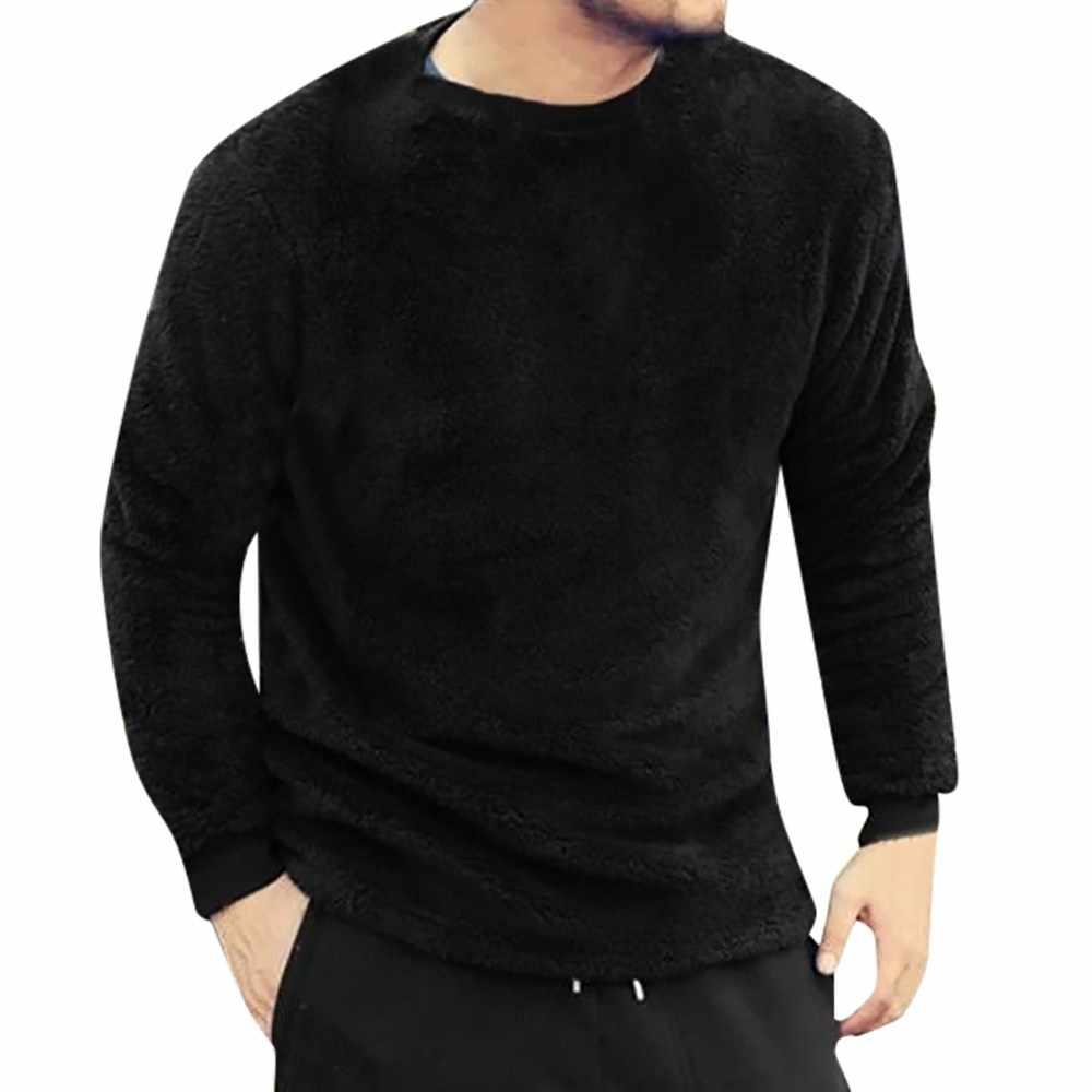 2019 новые стильные популярные мужские осенние зимние повседневные свободные двухсторонние плюшевые топы с круглым вырезом, блузки, футболки, высокое качество, распродажа
