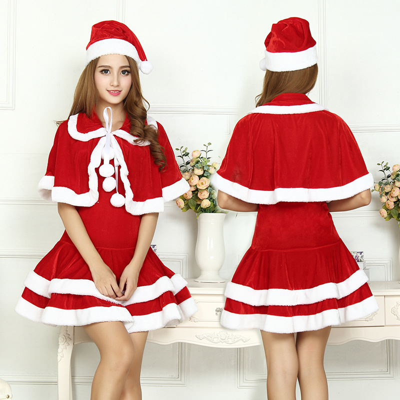2017 Christmas Cute Women Santa Claus Dress Red Female Autumn Winter Party Costumes Sexy One Size Santa Claus Wraps Dress