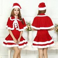 2017 Mulheres Bonitos Do Natal Papai Noel Trajes Do Partido Vestido Vermelho Outono Inverno Feminino Sexy One Size Wraps Vestido de Papai Noel