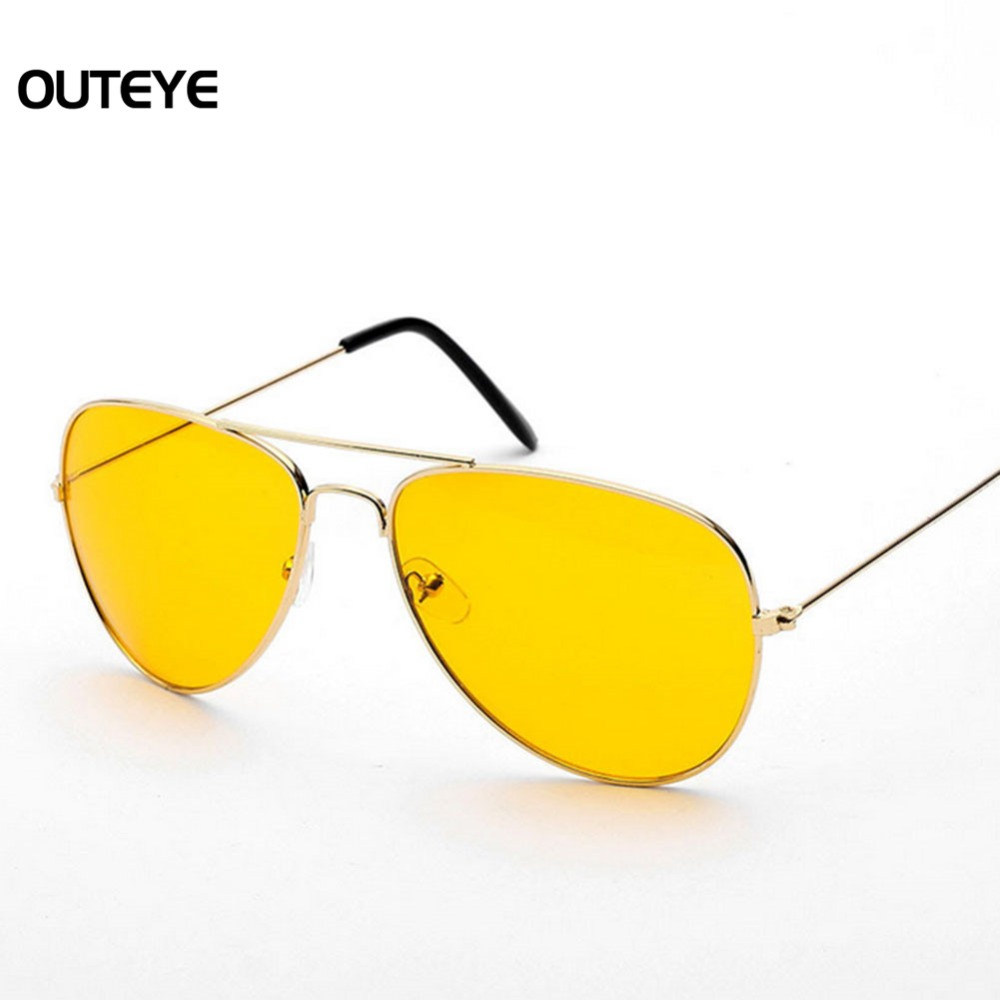 Mens Yellow Frame Sunglasses : OUTEYE New Arrival Night Driving Sunglasses Men Metal ...