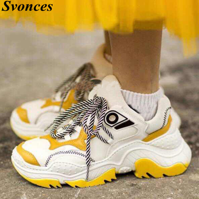 Chaussures Lacets Baskets Daim as Décontractées As Véritable Semelle forme Caoutchouc Épaisse Shown Cuir À Mélangées En Couleurs Femmes Jaune Shown Femme Plate tZXqR