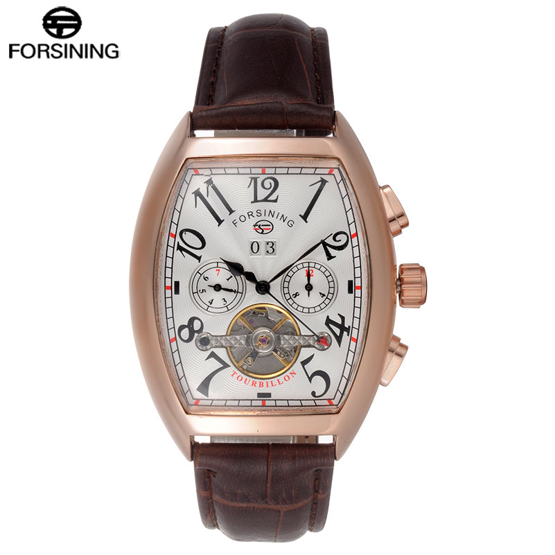 FORSINING Classic Men Watch Luxury Top Brand Leather Auto Mechanical Watch Tourbillion Design Relogio Masculino 2015 forsining relogio pmw342