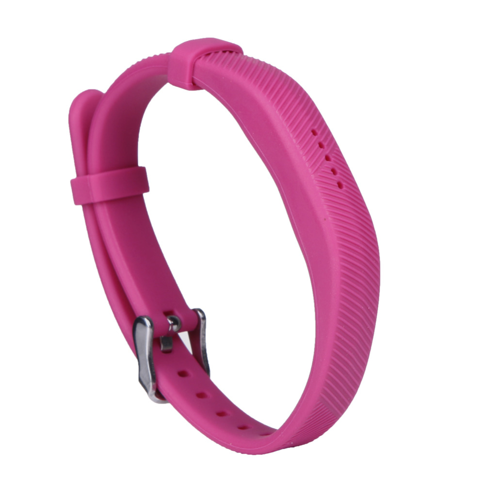 Silicone Smartband Strap Band Bracelet Wrist Bands Straps Loop Frame Protector with Stainless Steel Buckle for Fitbit Flex 2