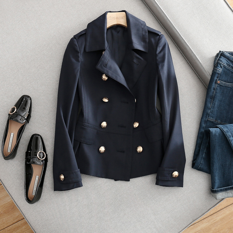 Hot-sales New Arrival 2018 Spring Double-breasted Ruffled Coat Short Paragraph Thin Small Windbreaker Female Women Clothing 2016 new arrival women s luxury jacket short paragraph korean version nagymaros collar female was thin tide coat mz575 page 4 page 3