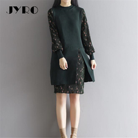 JYRO Brand Mori Women S Dresses The New Winter Dress Stitching Long Loose Large Size Knee