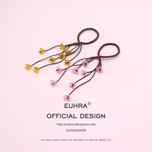 EUHRA 5 Colors Elastic Tassels Big Flowers Ponytail For Girls Hair Band Kid Children Rubber High Elasticity