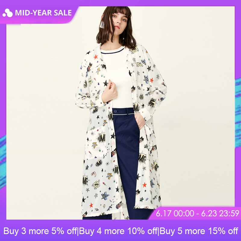 ONLY Brand 2018 NEW lace up loose print full sleeve street style long women   trench   coat  117236511