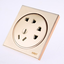 Wall Switches And Sockets, 86 High-End Home Decoration Round Extreme Gold Piano Paint, Seven-Hole Socket Panel, 10A PC110-250V цена