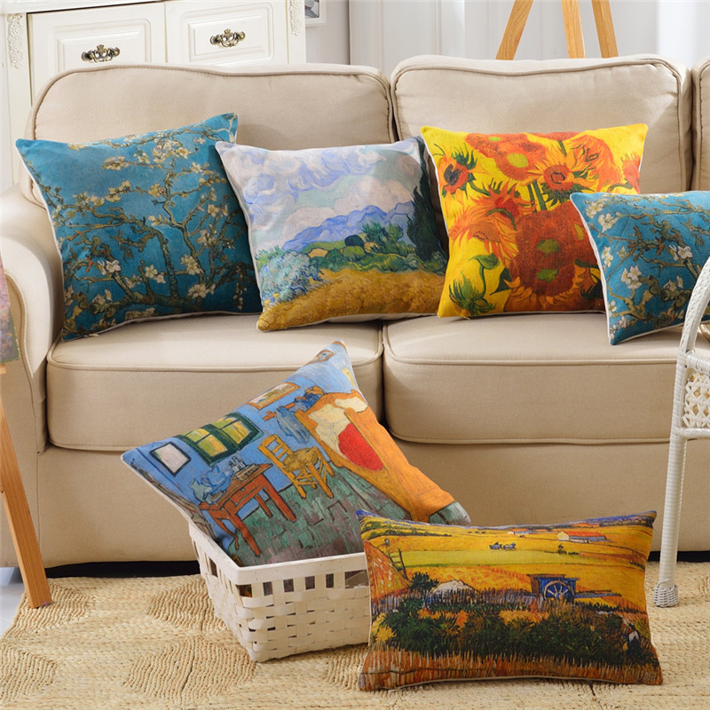 wholesale wedding gift pillow cover Van Gogh abstract pastoral scenery decorative cushion cover home car office sofa pillow case in Cushion Cover from Home Garden
