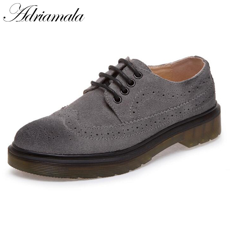 Adriamala Leather Bullock Women Retro Shoes 2018 Spring Round Toe Office & Career Fashion Ladies Lace-up Brogue Shoes Plus Size brand new spring men fashion lace up leather retro brogue shoes casual flat breathable carved shoes bullock oxfords shoes wb 55