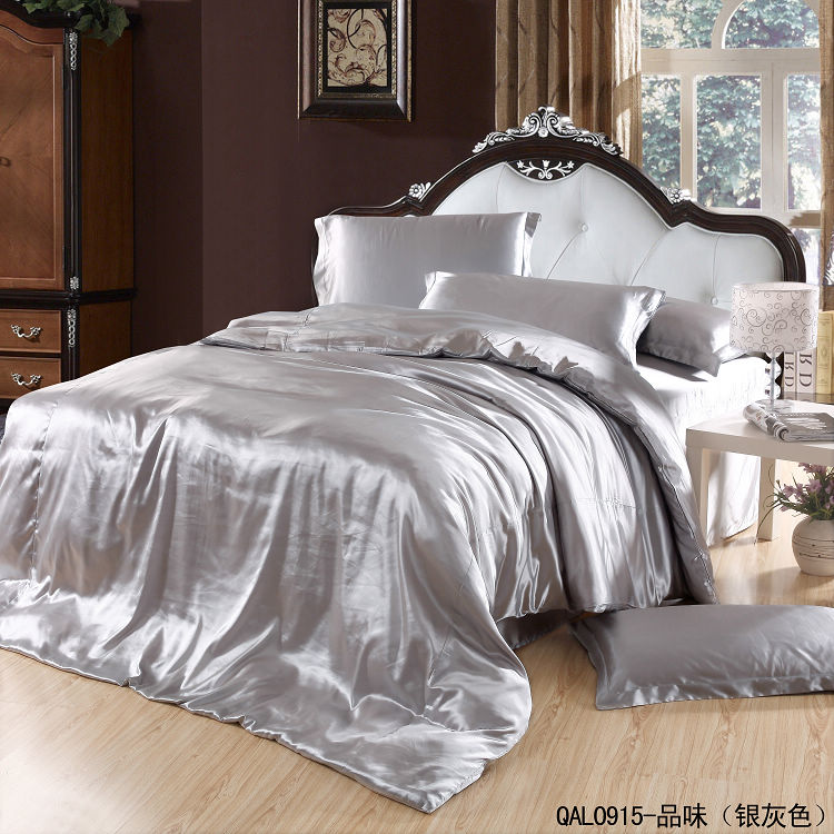 silver grey silk bedding set satin sheets super king size queen double quilt duvet cover. Black Bedroom Furniture Sets. Home Design Ideas