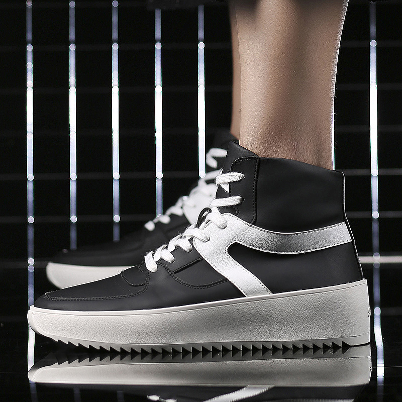 2018 Winter New Style Mens Shoes Fashion Trend High-top Students Leisure Black Young 5