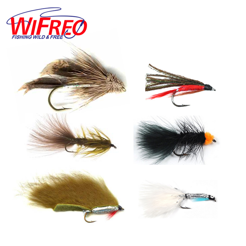 Wifreo 6PCS Trout Fly Fishing Flies Streamer Fly Muddler Egg Leech Peacock Zonkers Deceiver Minnow Shrimp Artificial Lure Bait wifreo 10pcs 6 fly fishing insect black orange egg sucking leech wooly streamer fly trout fly fishing baits marabou flashabou