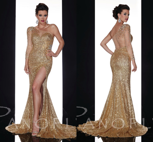 Gold Elegant Long Evening Dress One Shoulder Crystal Long Sleeve