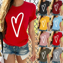 HEFLASHOR New Women Heart Printed T-shirt Sleeve with Loose