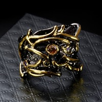 Elegant Jewellery Unique Black & Gold-color Handmade Made AAA Cubic Zirconia Champagne stones Bezel Set Trendy Ring for Women