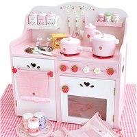 Бесплатная доставка! Детские игрушки большие роскошные деревянные кухонные игрушки Имитация деревянной кухни Развивающие детские игрушки