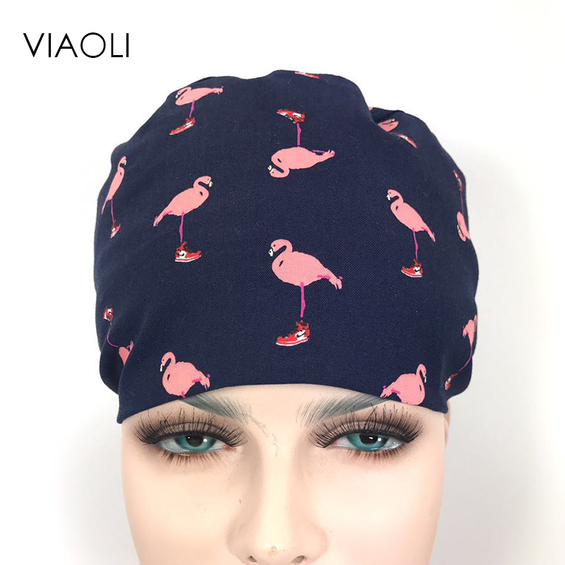 Viaoli New Lab Hospital Medical Surgical Cap 100% Cotton Printed Medical Scrub Operation Caps Adjustable One Size Bird