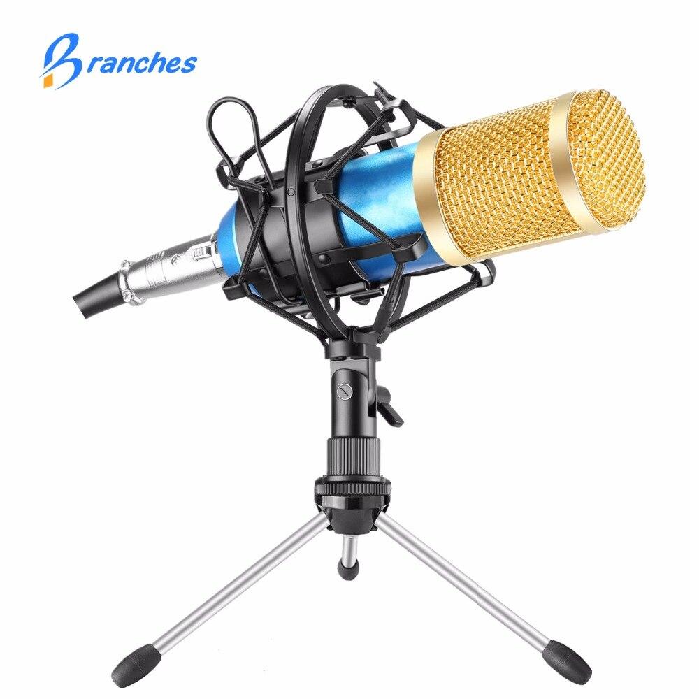 Mikrofon BM800 BM 800 Microfone Condensador Gravação de Som Com O Choque de Montagem Para O Rádio Broadcasting Gravação Cantar KTV Karaoke