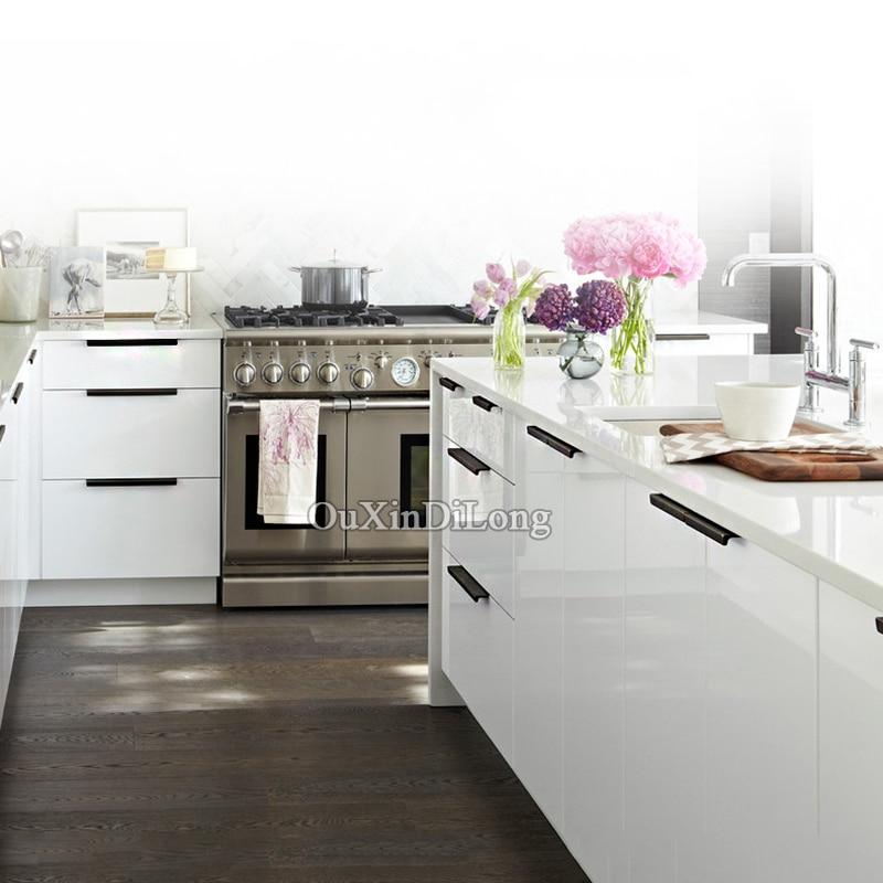 Modern simple cabinet door edge handle wardrobe drawer matte silver ...