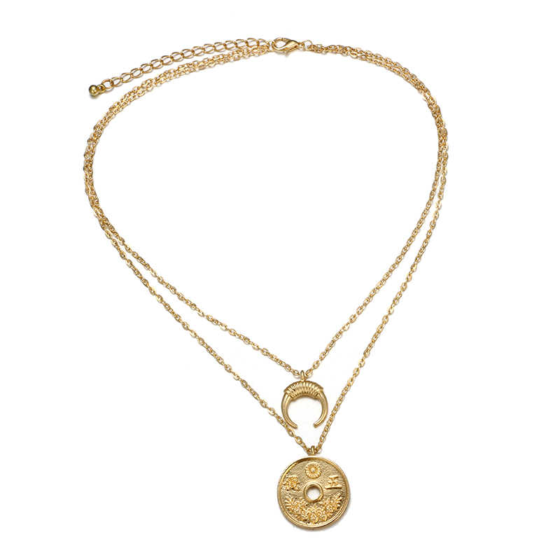 eba3c9ab5c55ad ... docona Boho Gold Color Coin Horn Pendant Necklace for Women Girl Long  Charms Layered Necklaces Statement
