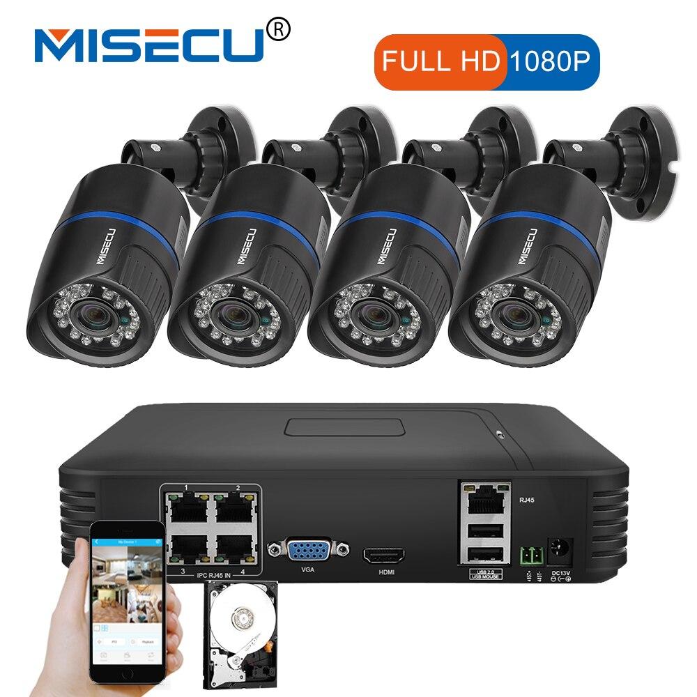 MISECU 4 pcs 2.0mp PoE Câmera IP 1080 p POE NVR P2P HDMI/VGA 1080 p 1 tb HDD noite IR visão outdoor CCTV Segurança Vigilância móvel