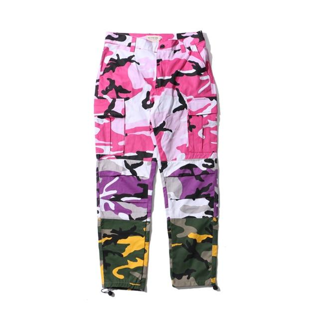 Pink Purple Camouflage Patchwork Cargo Pants Men Women 2017 New Fashion Hip  Hop Streetwear Joggers Pants Couple Camo Sweatpants 07309bf92cd
