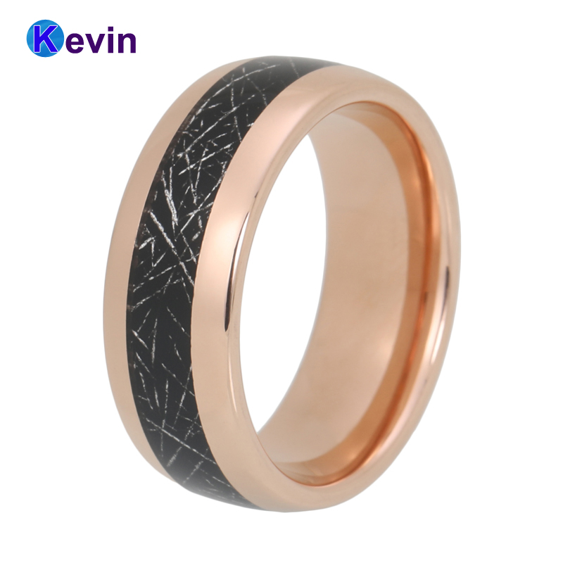 Tungsten Ring Men Women Wedding Band With Black Meteorite Inlay Dome Comfort Fit