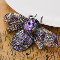 Blucome Big Size Bee Rhinestone Brooches For Christmas Accessories Collar Women Hijab Pins And Broches Bijoux